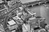 London buildings, railway and Thames river — Stock fotografie