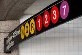 Manhattan subway signs and directions — Foto de Stock