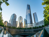 NYC's 9.11 Memorial with new skyscrapers — Stock Photo