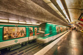 Underground train inside a metro station — Stock fotografie
