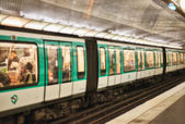 Underground train inside a metro station — Stock Photo
