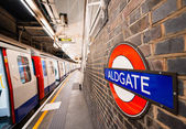 Inside view of London Aldgate station — Stock Photo