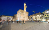 Piazza della Signoria at night in Florence — Stock Photo
