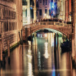 Bridge of Sighs at night with tourists — Stock Photo #44849293
