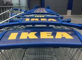 Ikea carts at shop entrance — Stock Photo