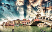 Rialto Bridge area and Grand Canal — Foto de Stock