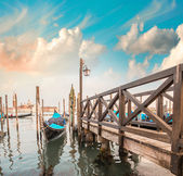 Gondolas near Saint Mark Square. — Stock Photo