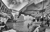Fisheye view of Rialto Bridge — Stockfoto