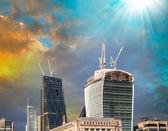 Modern city skyline on late afternoon — Foto Stock