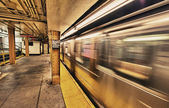 Subway train in New York City — Stock Photo