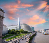 London with main landmarks along Thames river — Stock Photo