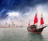 Sailing ship at storm — Stock Photo