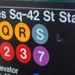 Times Square - 42 street station entrance sign — Stock Photo