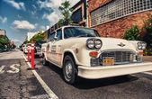 Vintage white taxi cab — Stockfoto