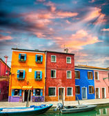 Houses and boats, quaint village — Stock Photo