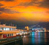 Sydney harbour bij nacht — Stockfoto