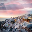 Mediterranean village of Oia at dusk, Santorini Island - Greece — Stock Photo #49328781