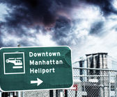 Downtown Manhattan Heliport street sign — Stock Photo