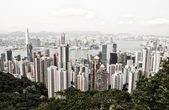 Hong Kong and Kowloon buildings. Aerial view of skyscrapers on a — Stock Photo