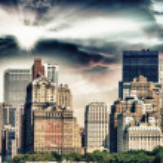 Skyscrapers and nature in New York. Sunset scene in Manhattan — Stock Photo #49508583