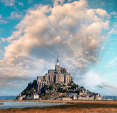 Normandy, France. Sunset view of Mont Saint-Michel — Stock fotografie