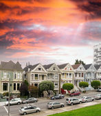 Panorama view of Alamo Square at sunset. During twilight time — Stock Photo