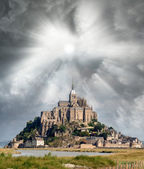 Normandy, France. Sunset view of Mont Saint-Michel — Stock Photo