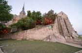The Mont Saint Michel Abbey at dusk — Stock Photo