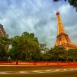 Eiffel Tower and traffic light trails — Stock Photo #50279245