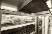 Podzemní vlak ve stanici metra. — Stock fotografie
