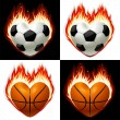Stock Vector: Football, basketball ball on fire in the shape of heart