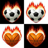 Football, basketball ball on fire in the shape of heart — Stock Vector