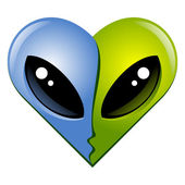 Kissing aliens — Stock Vector
