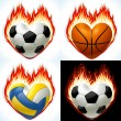 Football, basketball and volleyball on fire in the shape of heart - Stock Vector