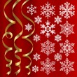 Christmas set of ribbons and snowflakes -  
