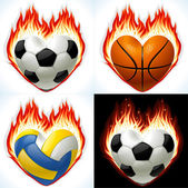 Football, basketball and volleyball on fire in the shape of heart — Stock Vector