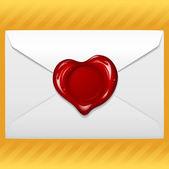 Envolvente con cera del sello en forma de corazón — Vector de stock