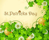 St. Patrick's Day frame with clover and golden coin — Stock Vector