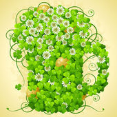 St. Patrick's Day frame with clover and golden coin — Stock vektor