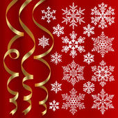 Christmas set of ribbons and snowflakes — Stock Vector