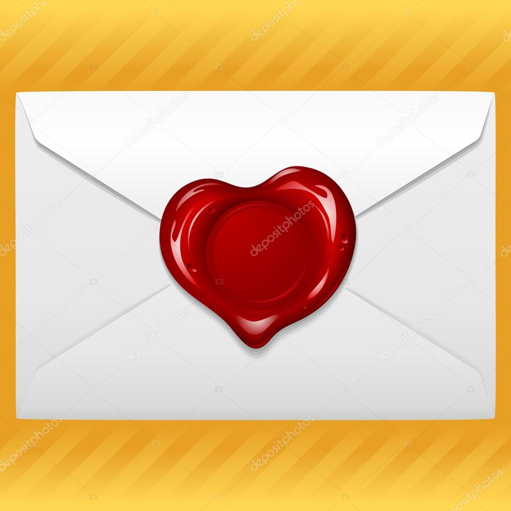 Envelope with wax seal in the shape of heart  Stock Vector #12300537