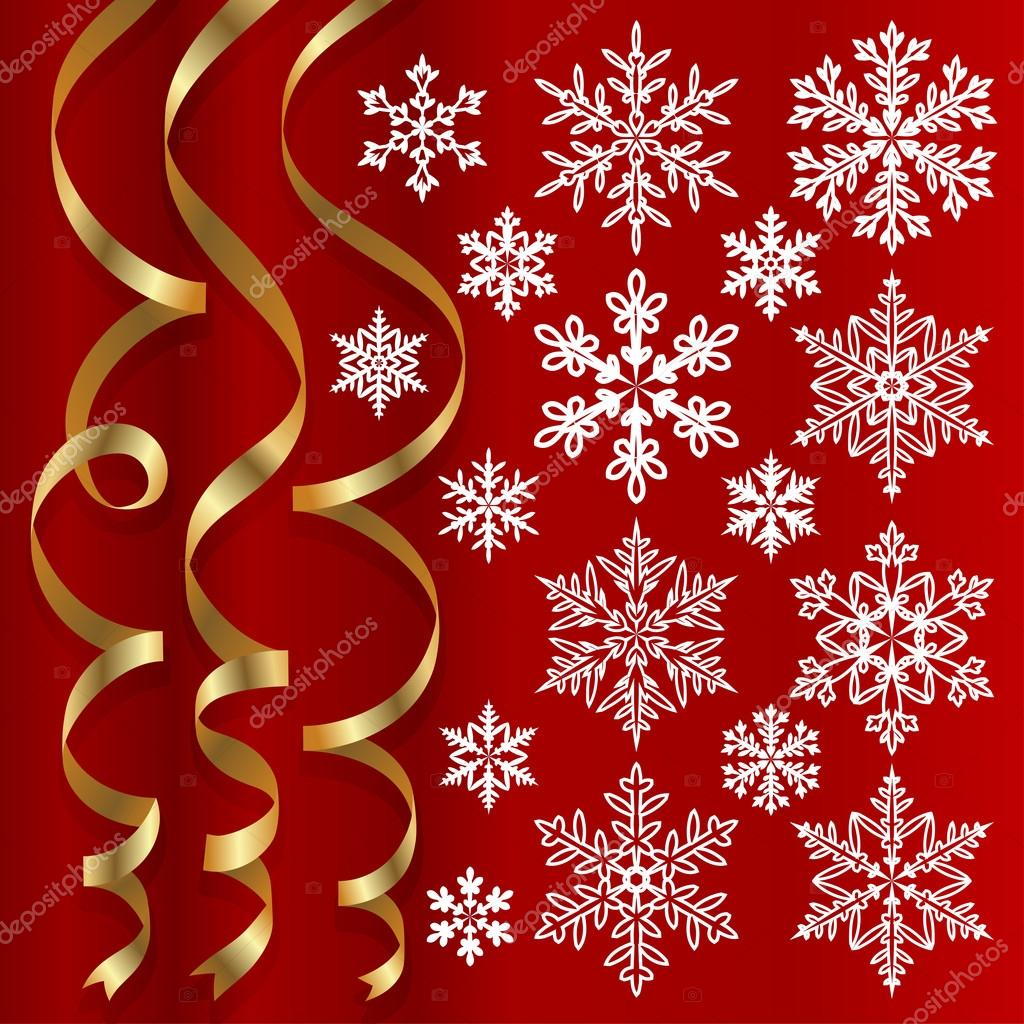 Christmas set of golden ribbons and snowflakes on red background — Imagen vectorial #12300699