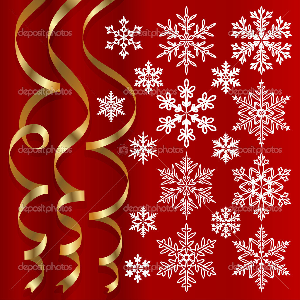 Christmas set of golden ribbons and snowflakes on red background  Stockvectorbeeld #12300699