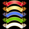 Vector Ribbons set. Multicolored banners isolated on black background — Stock Vector