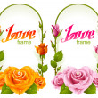 Vector rose frames. Wedding, Birthday or Valentine day vertical banners isolated on white background - Stock Vector