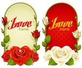 Vector rose frames. Wedding, Birthday or Valentine day vertical banners isolated on white background — 图库矢量图片