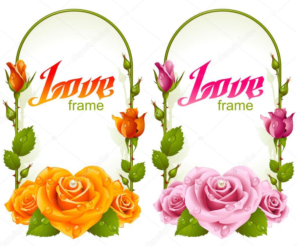 Banner Wedding Vector Vector Rose Frames Wedding