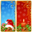 Stock Vector: Christmas vertical banners set. Santa hat and candle