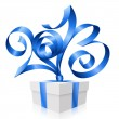 Vector blue ribbon in the shape of 2013 and gift box. Symbol of — Stock Vector