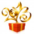 Vector gold ribbon in the shape of 2013 and gift box. Symbol of — Stock Vector